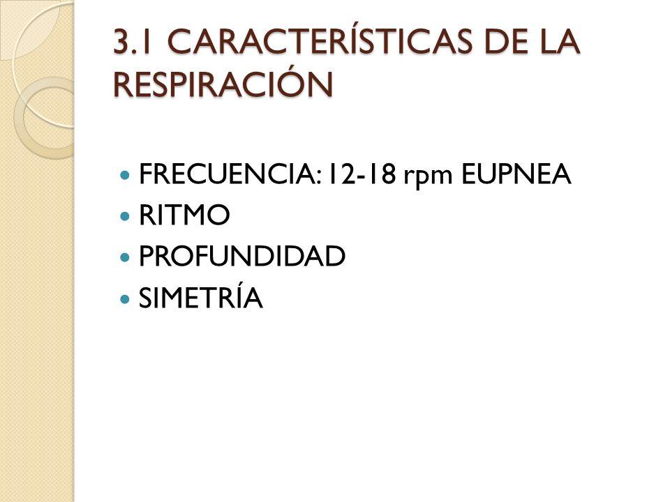 3.1 CARACTERÍSTICAS DE LA RESPIRACIÓN FRECUENCIA: 12-18 rpm EUPNEA RITMO PROFUNDIDAD SIMETRÍA