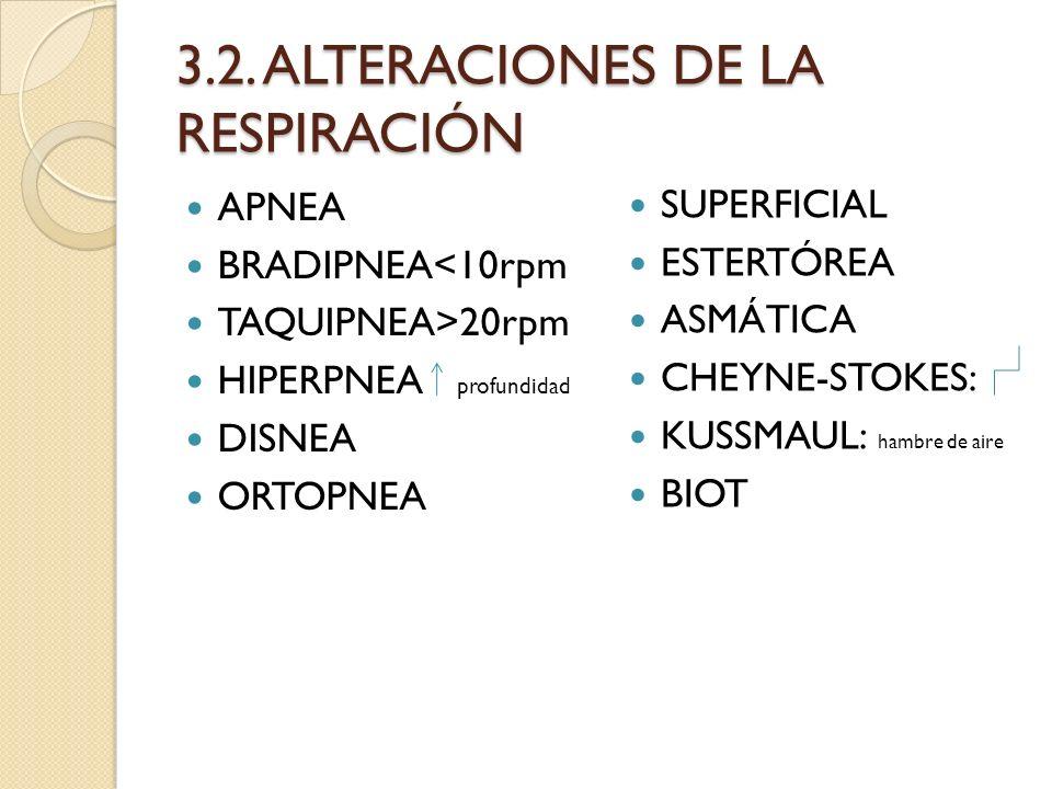 3.2. ALTERACIONES DE LA RESPIRACIÓN APNEA BRADIPNEA<10rpm TAQUIPNEA>20rpm HIPERPNEA profundidad DISNEA ORTOPNEA SUPERFICIAL ESTERTÓREA ASMÁTICA CHEYNE