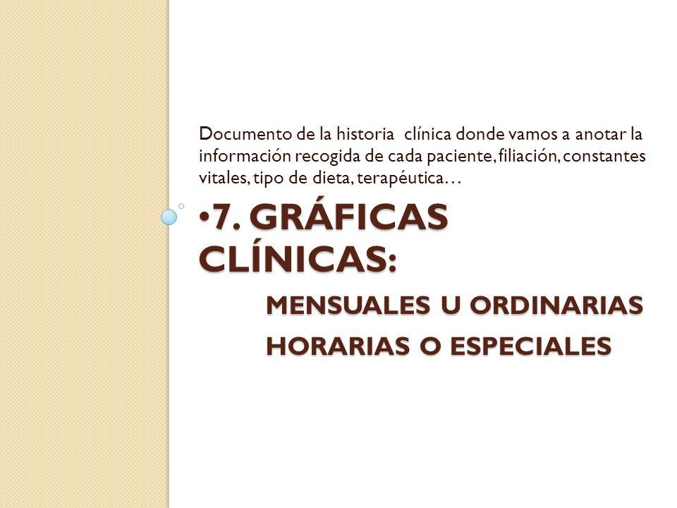 7. GRÁFICAS CLÍNICAS: MENSUALES U ORDINARIAS HORARIAS O ESPECIALES 7. GRÁFICAS CLÍNICAS: MENSUALES U ORDINARIAS HORARIAS O ESPECIALES Documento de la