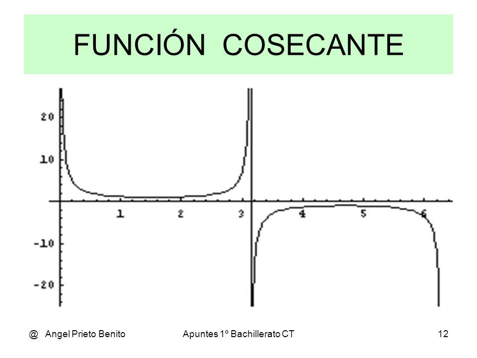 @ Angel Prieto BenitoApuntes 1º Bachillerato CT11 RAZONES TRIGONOMÉTRICAS INVERSAS Aunque algo menos utilizadas hay otras tres razones trigonométricas