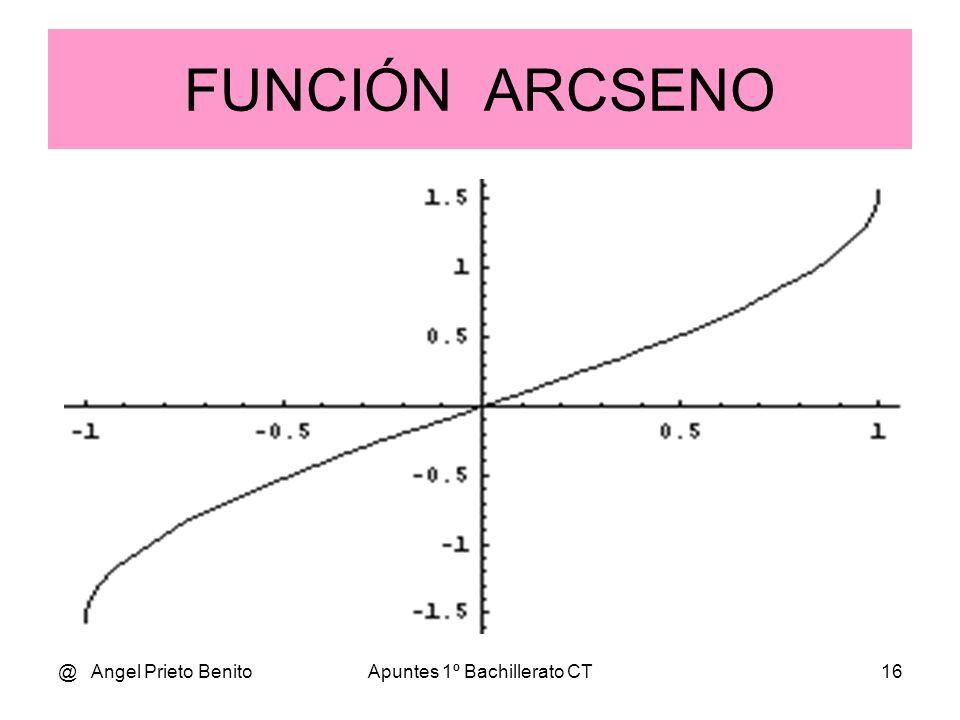 @ Angel Prieto BenitoApuntes 1º Bachillerato CT15 F. trigonométricas inversas ARCOSENO DE UN ÁNGULO La función y = arcsen x asocia a cada valor del in