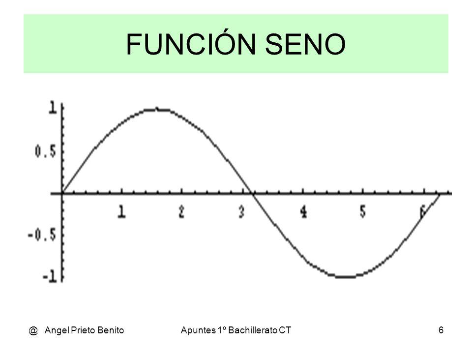 @ Angel Prieto BenitoApuntes 1º Bachillerato CT5 Trigonometría SENO DE UN ÁNGULO Sea el triángulo rectángulo ABC. La razón entre el cateto AB y la hip