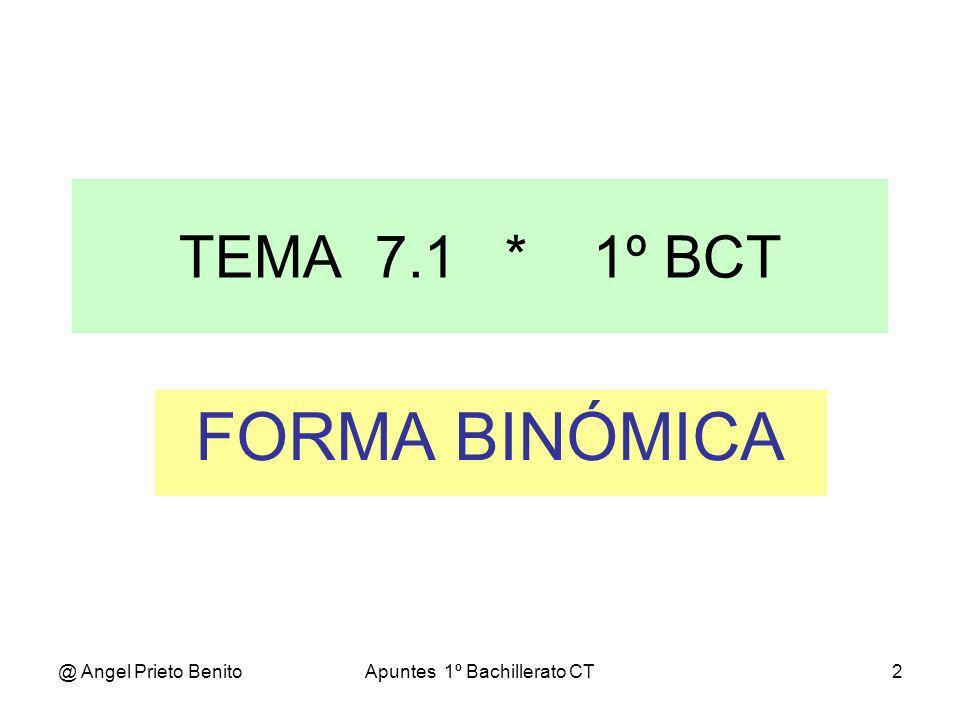 @ Angel Prieto BenitoApuntes 1º Bachillerato CT3 LOS NUMEROS COMPLEJOS La ecuación x 2 +1=0 carece de soluciones en el campo de los números reales.