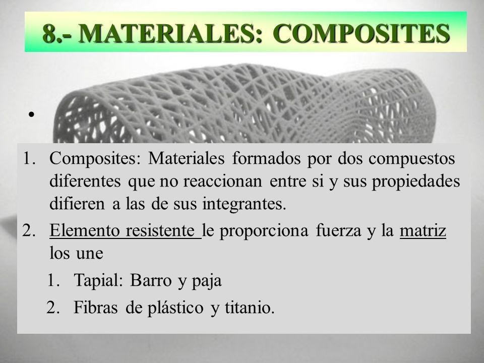 8.- MATERIALES: COMPOSITES 1.Composites: Materiales formados por dos compuestos diferentes que no reaccionan entre si y sus propiedades difieren a las
