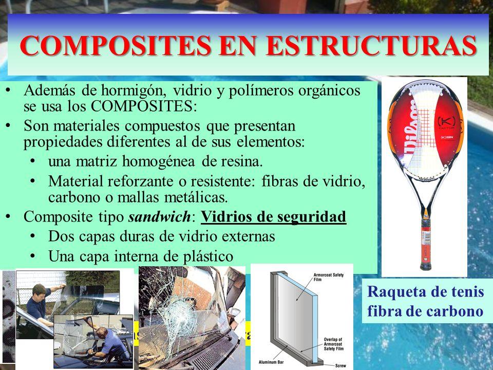 COMPOSITES EN ESTRUCTURAS Además de hormigón, vidrio y polímeros orgánicos se usa los COMPOSITES: Son materiales compuestos que presentan propiedades