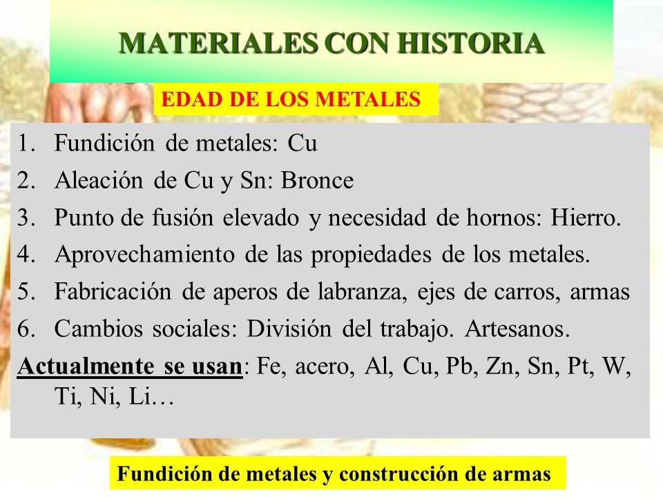 Fundición de metales y construcción de armas EDAD DE LOS METALES 1.Fundición de metales: Cu 2.Aleación de Cu y Sn: Bronce 3.Punto de fusión elevado y