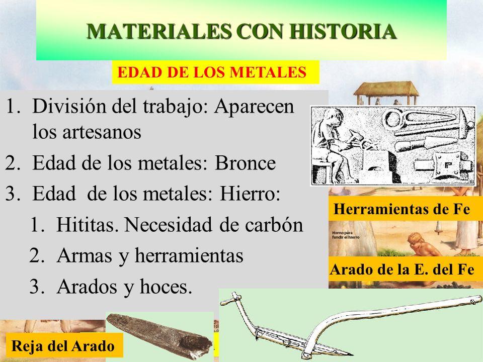 Ciudad típica de la edad de los metales Arado de la E. del Fe Herramientas de Fe EDAD DE LOS METALES 1.División del trabajo: Aparecen los artesanos 2.