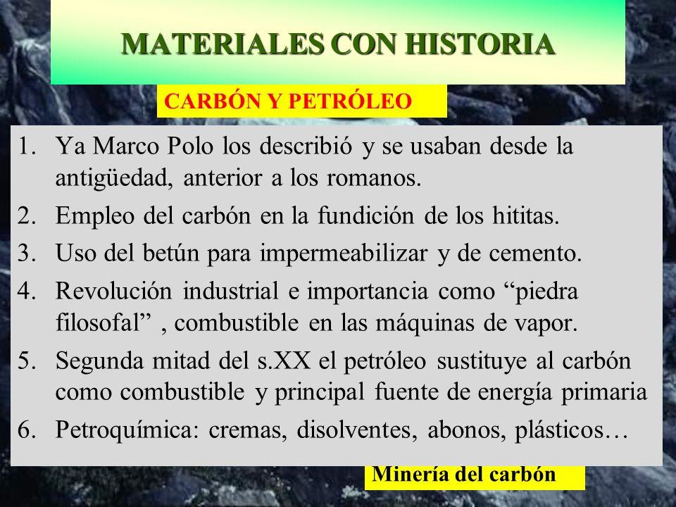 Minería del carbón CARBÓN Y PETRÓLEO 1.Ya Marco Polo los describió y se usaban desde la antigüedad, anterior a los romanos. 2.Empleo del carbón en la