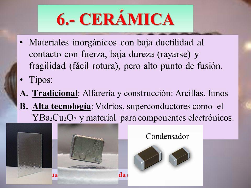 Antigua resistencia enmarcada en cerámica 6.- CERÁMICA Materiales inorgánicos con baja ductilidad al contacto con fuerza, baja dureza (rayarse) y frag