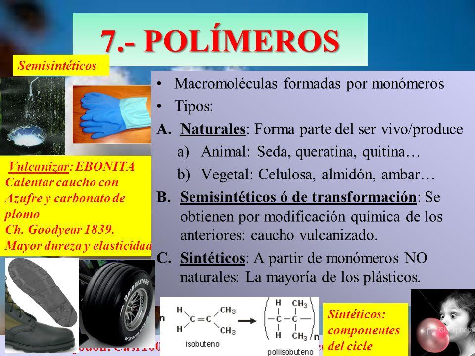 Vulcanizar: EBONITA Calentar caucho con Azufre y carbonato de plomo Ch. Goodyear 1839. Mayor dureza y elasticidad Fruto del algodón: Casi 100 % de cel