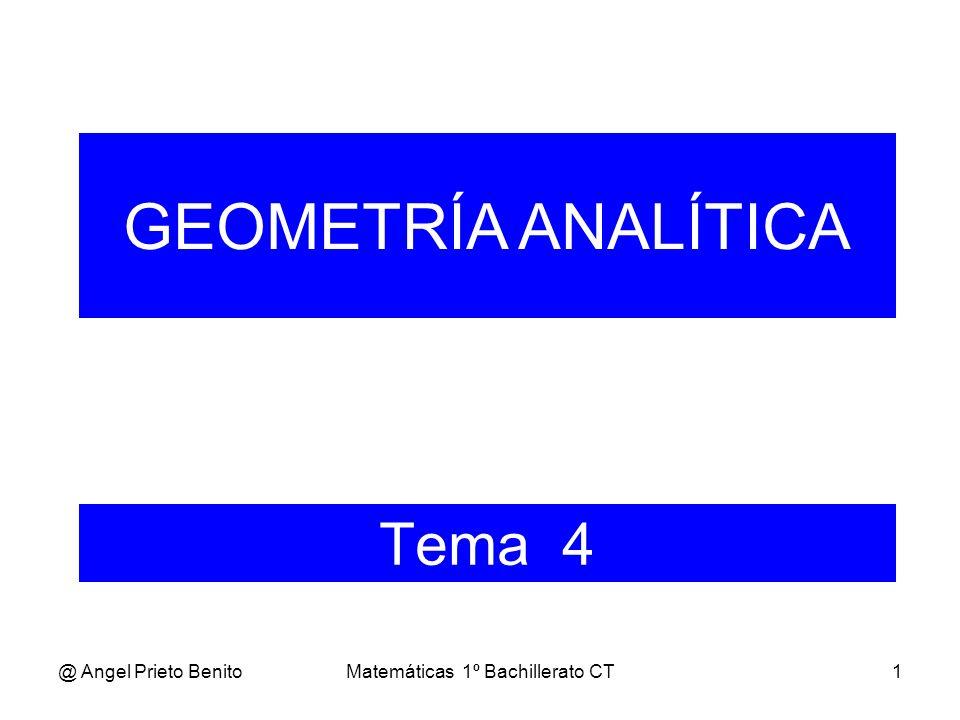 @ Angel Prieto BenitoMatemáticas 1º Bachillerato CT1 Tema 4 GEOMETRÍA ANALÍTICA