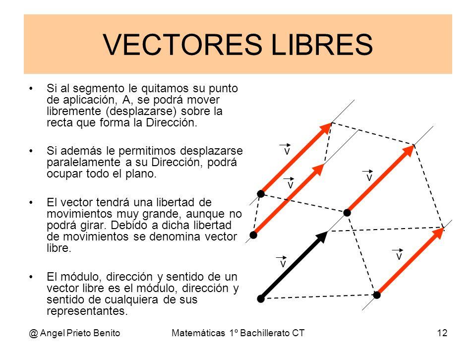 @ Angel Prieto BenitoMatemáticas 1º Bachillerato CT12 VECTORES LIBRES Si al segmento le quitamos su punto de aplicación, A, se podrá mover libremente
