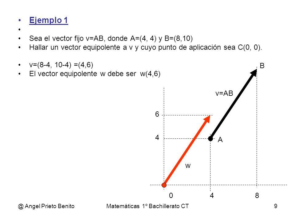 @ Angel Prieto BenitoMatemáticas 1º Bachillerato CT9 Ejemplo 1 Sea el vector fijo v=AB, donde A=(4, 4) y B=(8,10) Hallar un vector equipolente a v y c