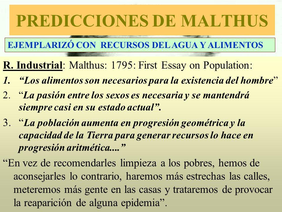 ¿POR QUÉ NO SE CUMPLIERON LAS PREDICCIONES DE MALTHUS Se cumplieron en el S XIX, pero no en el XX: Energías fósiles baratas y aumentó geométricamente la producción agrícola.