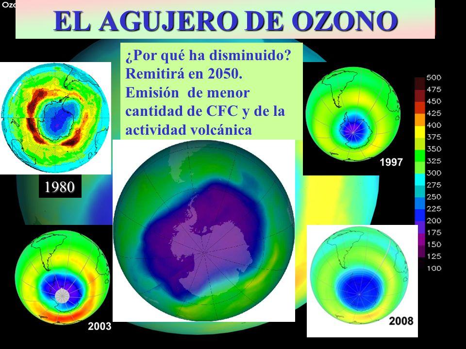 Septiembre 2000: Extensión máxima 27 x 10 6 Km 2 EL AGUJERO DE OZONO 1980 ¿Por qué ha disminuido? Remitirá en 2050. Emisión de menor cantidad de CFC y