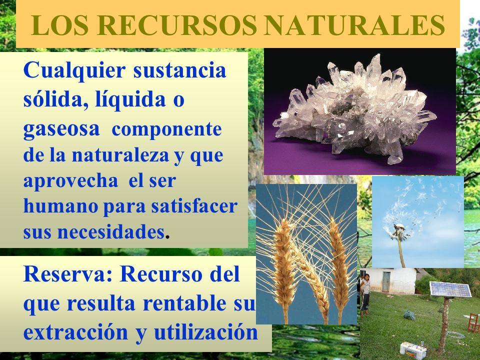 LOS RECURSOS NATURALES Cualquier sustancia sólida, líquida o gaseosa componente de la naturaleza y que aprovecha el ser humano para satisfacer sus nec