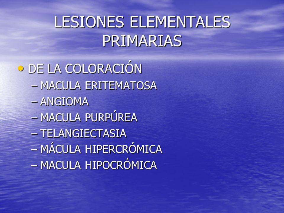 LESIONES ELEMENTALES PRIMARIAS DE LA COLORACIÓN DE LA COLORACIÓN –MACULA ERITEMATOSA –ANGIOMA –MACULA PURPÚREA –TELANGIECTASIA –MÁCULA HIPERCRÓMICA –M