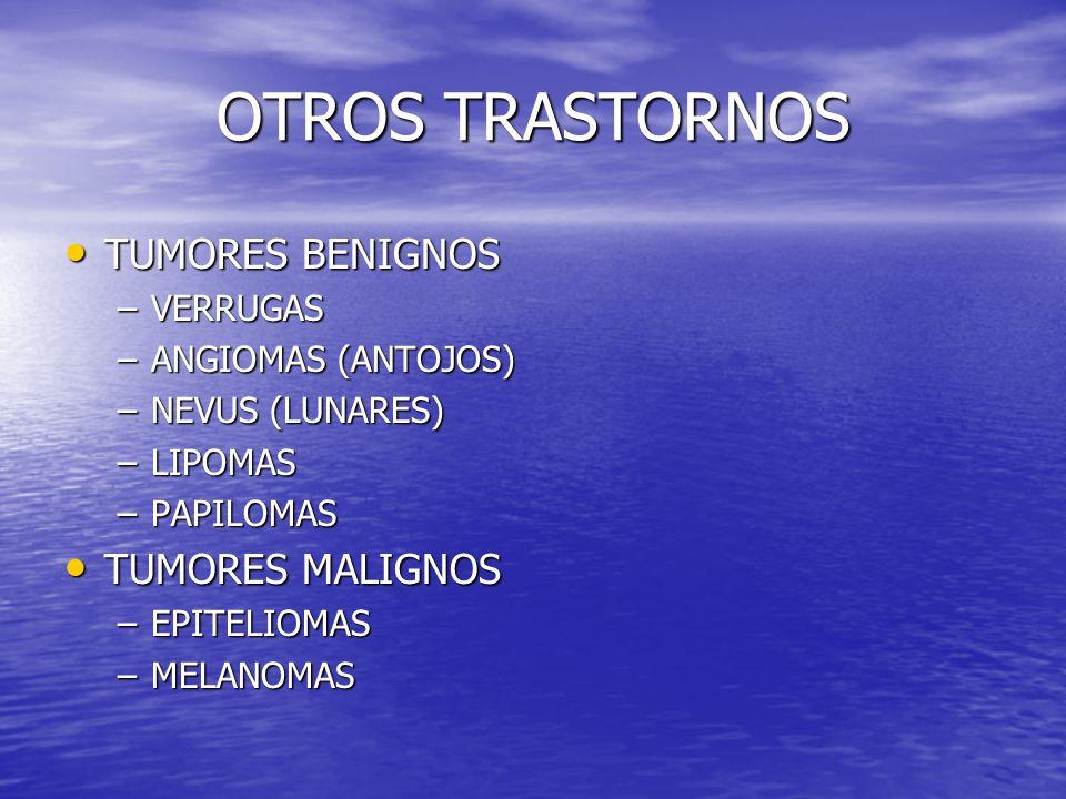 OTROS TRASTORNOS TUMORES BENIGNOS TUMORES BENIGNOS –VERRUGAS –ANGIOMAS (ANTOJOS) –NEVUS (LUNARES) –LIPOMAS –PAPILOMAS TUMORES MALIGNOS TUMORES MALIGNO