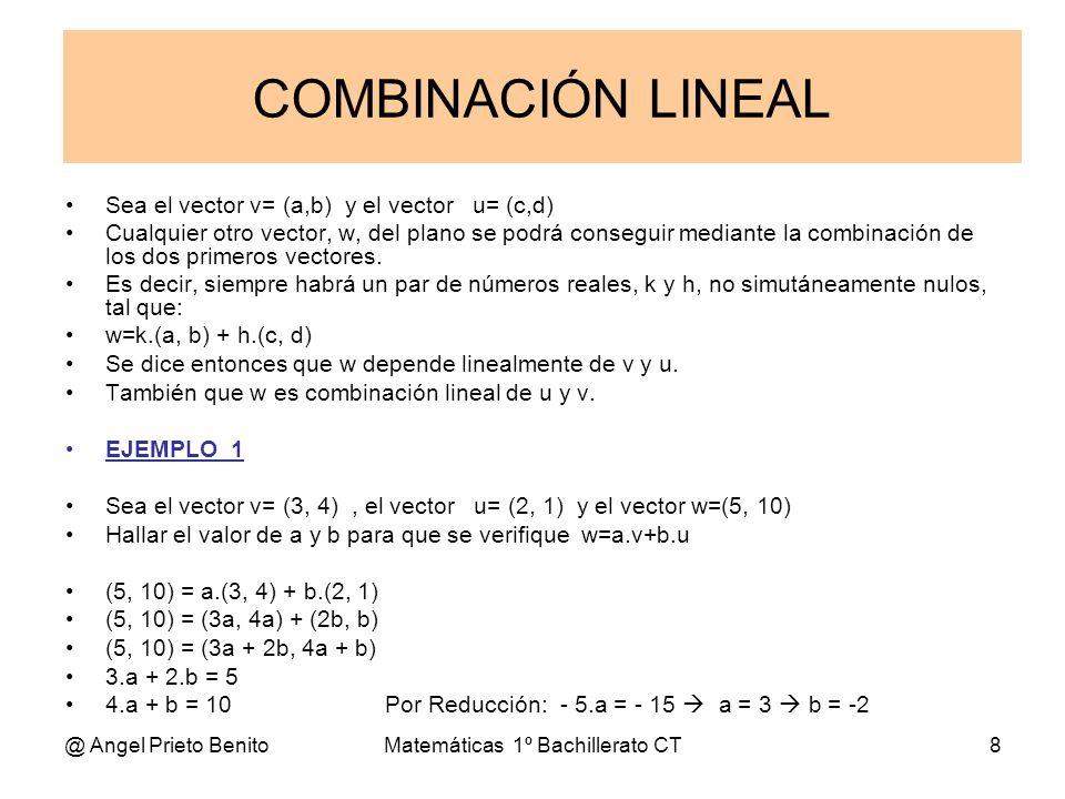 @ Angel Prieto BenitoMatemáticas 1º Bachillerato CT8 Sea el vector v= (a,b) y el vector u= (c,d) Cualquier otro vector, w, del plano se podrá consegui