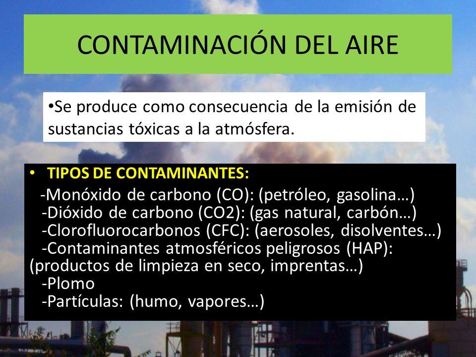 CONTAMINACIÓN DEL AIRE FUENTES DE CONTAMINACIÓN: - Emisión de humos: (fábricas, vehículos…) - Emisión de aerosoles: (desodorantes, insecticidas…) - Ma