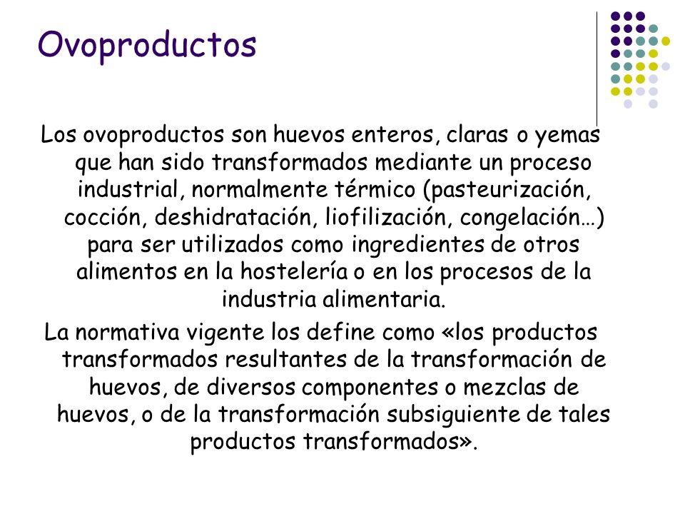 Los ovoproductos son huevos enteros, claras o yemas que han sido transformados mediante un proceso industrial, normalmente térmico (pasteurización, co