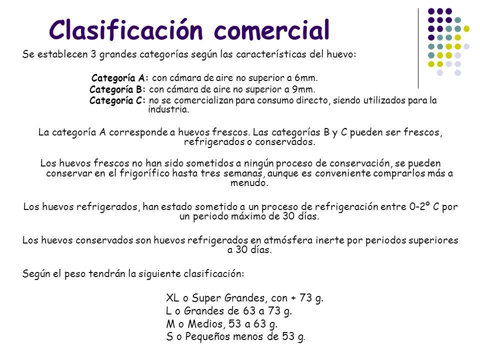 Clasificación comercial Se establecen 3 grandes categorías según las características del huevo: Categoría A: con cámara de aire no superior a 6mm. Cat