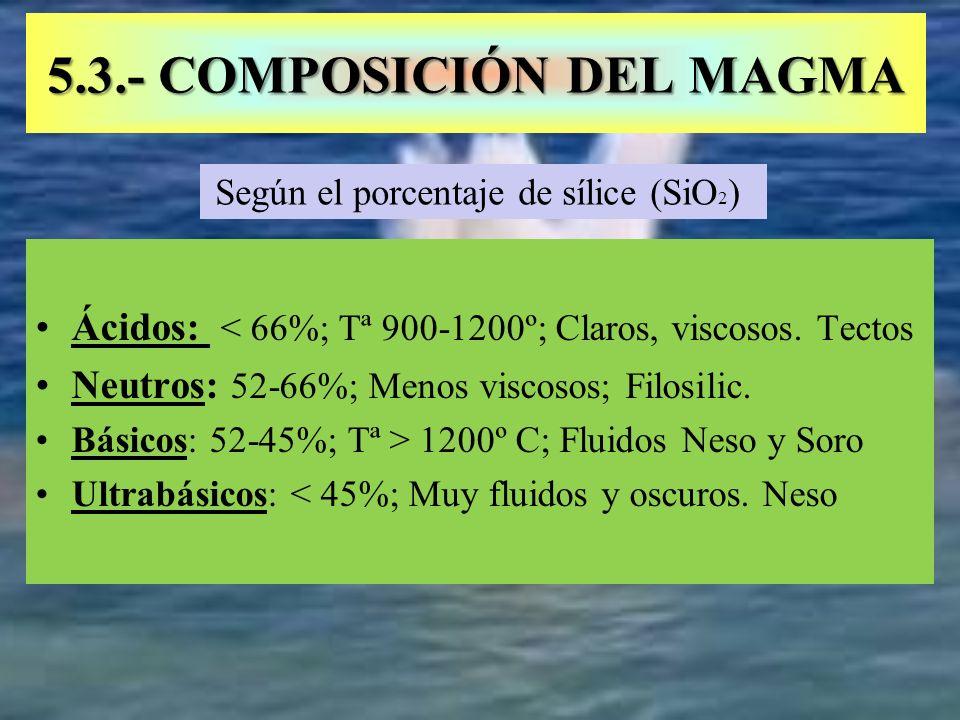 5.3.- COMPOSICIÓN DEL MAGMA Ácidos: < 66%; Tª 900-1200º; Claros, viscosos. Tectos Neutros: 52-66%; Menos viscosos; Filosilic. Básicos: 52-45%; Tª > 12