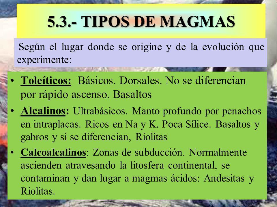 5.3.- TIPOS DE MAGMAS Toleíticos: Básicos. Dorsales. No se diferencian por rápido ascenso. Basaltos Alcalinos: Ultrabásicos. Manto profundo por penach