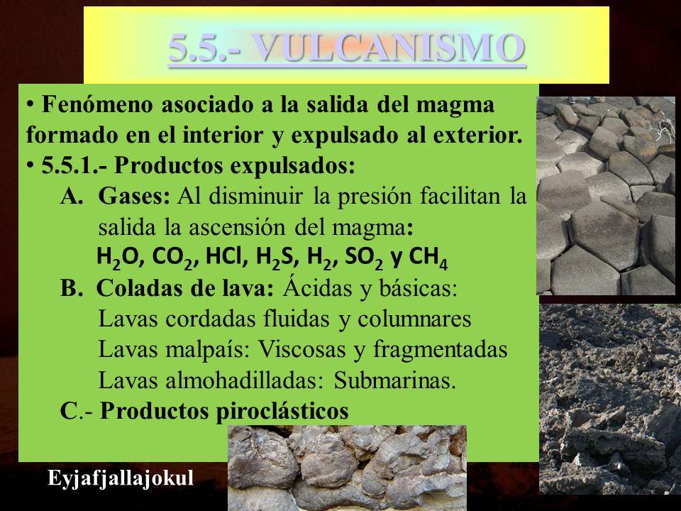 5.5.- VULCANISMO 5.5.- VULCANISMO Fenómeno asociado a la salida del magma formado en el interior y expulsado al exterior. 5.5.1.- Productos expulsados