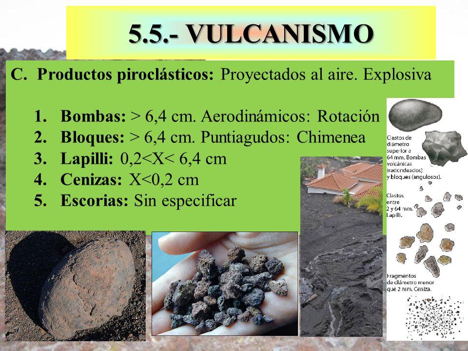 5.5.- VULCANISMO C.Productos piroclásticos: Proyectados al aire. Explosiva 1.Bombas: > 6,4 cm. Aerodinámicos: Rotación 2.Bloques: > 6,4 cm. Puntiagudo