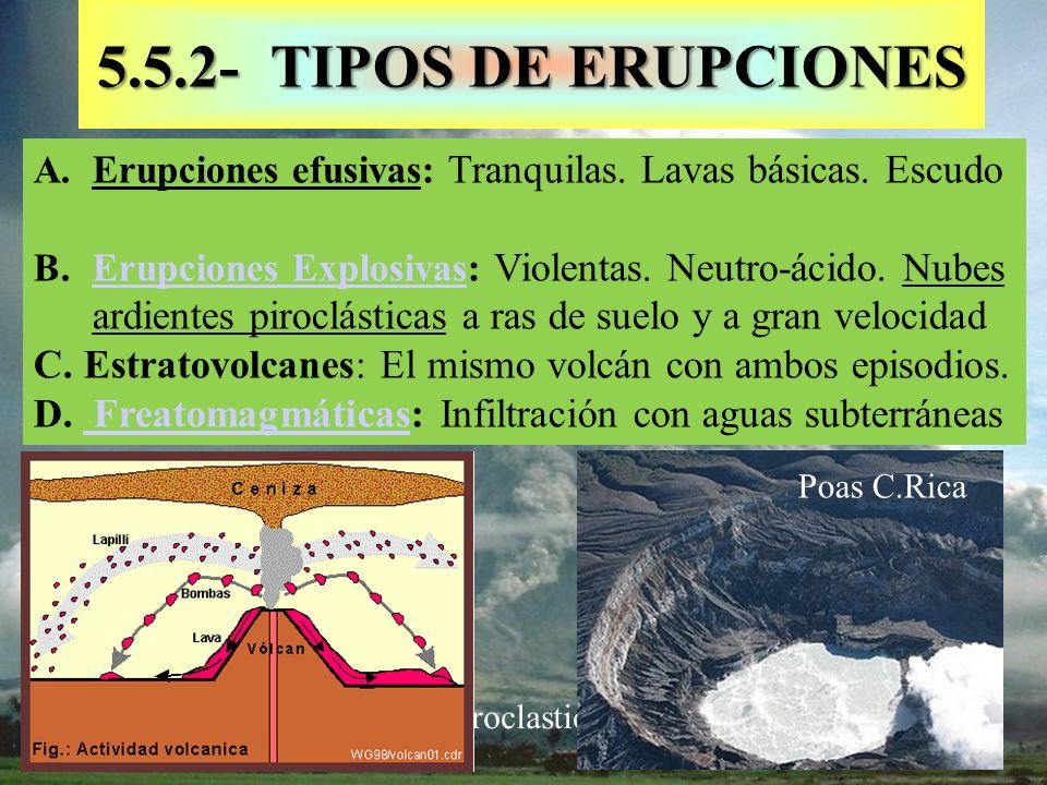 Pyroclastic flows 5.5.2- TIPOS DE ERUPCIONES A.Erupciones efusivas: Tranquilas. Lavas básicas. Escudo B.Erupciones Explosivas: Violentas. Neutro-ácido
