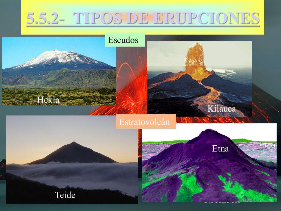 5.5.2- TIPOS DE ERUPCIONES 5.5.2- TIPOS DE ERUPCIONES Escudos Stromboli Teide Hekla Kilauea Estratovolcán Etna