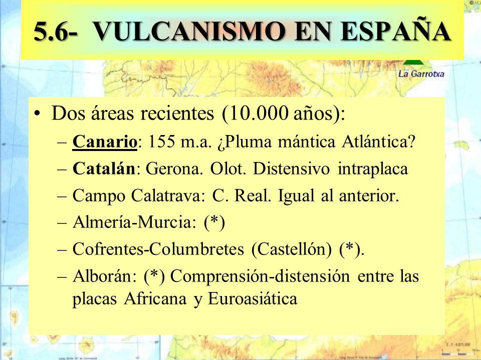Dos áreas recientes (10.000 años): –Canario: 155 m.a. ¿Pluma mántica Atlántica? –Catalán: Gerona. Olot. Distensivo intraplaca –Campo Calatrava: C. Rea