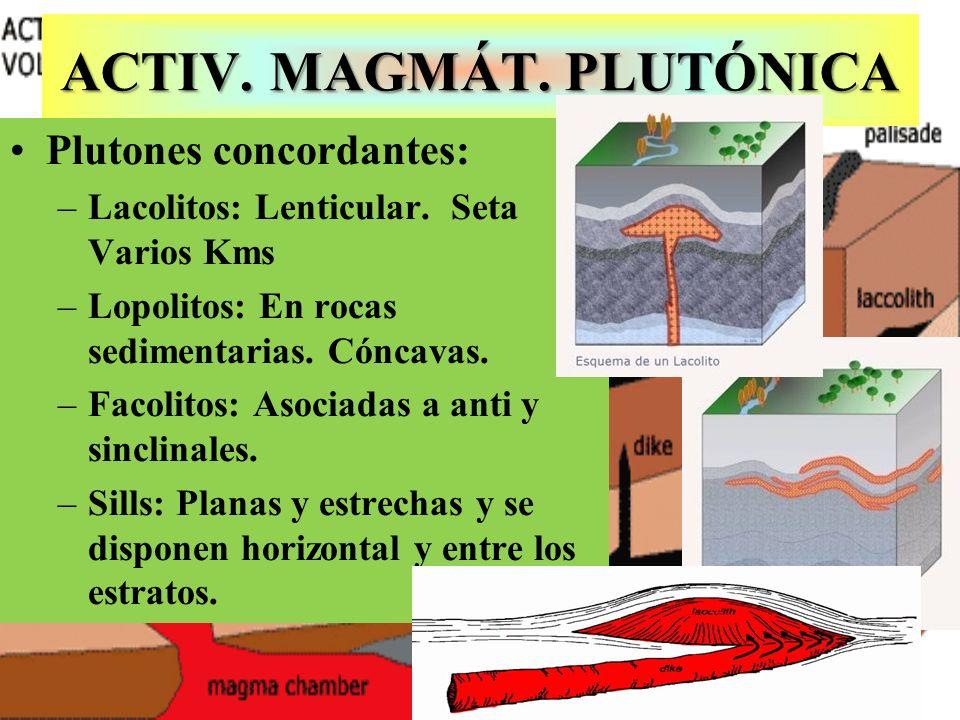 ACTIV. MAGMÁT. PLUTÓNICA Plutones concordantes: –Lacolitos: Lenticular. Seta Varios Kms –Lopolitos: En rocas sedimentarias. Cóncavas. –Facolitos: Asoc
