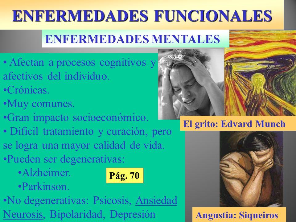 ENFERMEDADES FUNCIONALES Afectan a procesos cognitivos y afectivos del individuo. Crónicas. Muy comunes. Gran impacto socioeconómico. Difícil tratamie