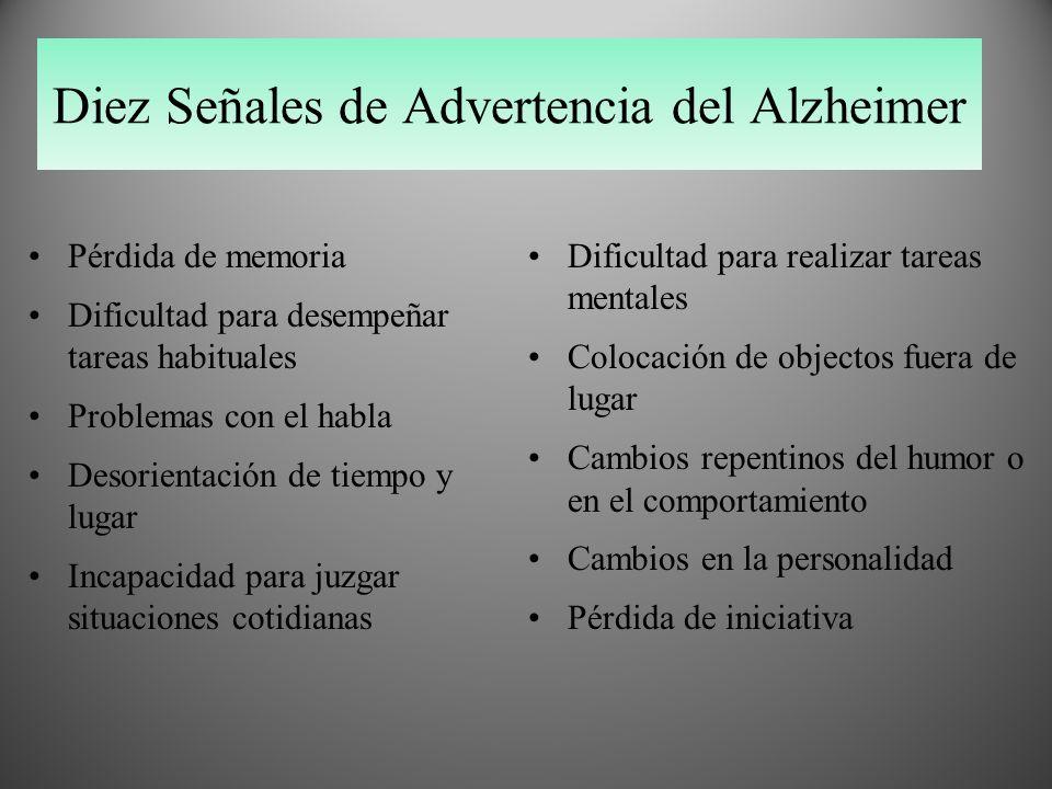 Diez Señales de Advertencia del Alzheimer Pérdida de memoria Dificultad para desempeñar tareas habituales Problemas con el habla Desorientación de tie