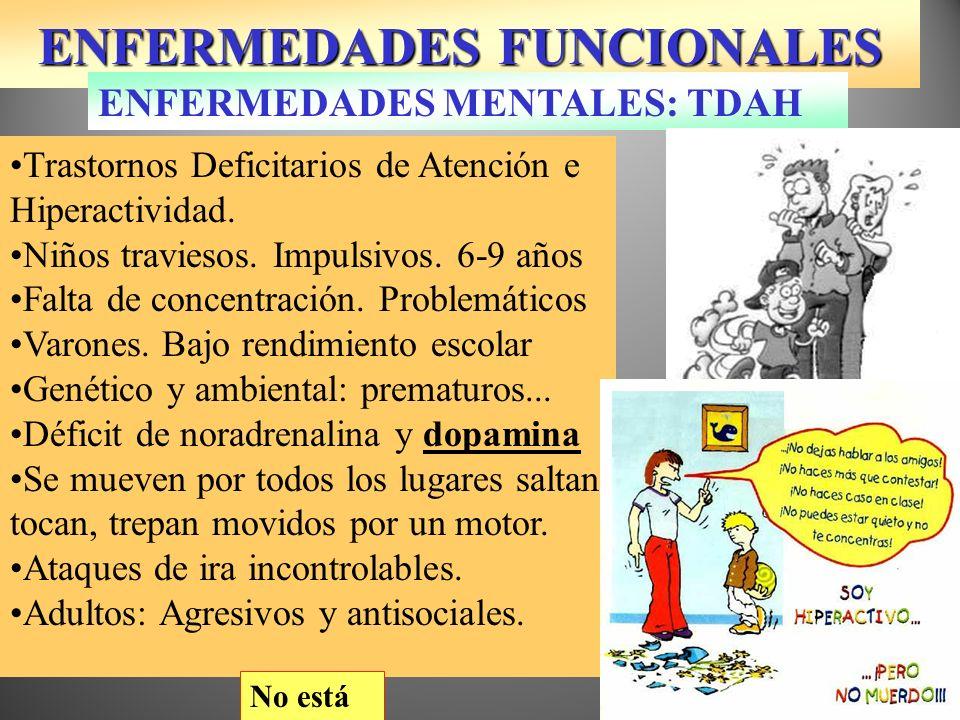 ENFERMEDADES FUNCIONALES Trastornos Deficitarios de Atención e Hiperactividad. Niños traviesos. Impulsivos. 6-9 años Falta de concentración. Problemát