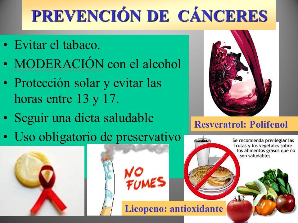 PREVENCIÓN DE CÁNCERES Deja de hacer el gamba Evitar el tabaco. MODERACIÓN con el alcohol Protección solar y evitar las horas entre 13 y 17. Seguir un