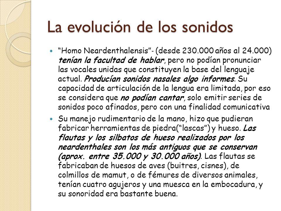 La evolución de los sonidos Homo Neardenthalensis (desde 230.000 años al 24.000) tenían la facultad de hablar, pero no podían pronunciar las vocales u
