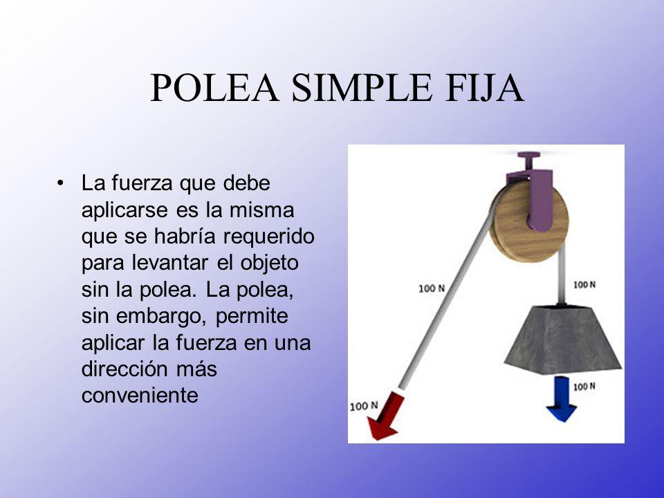 POLEA SIMPLE FIJA La fuerza que debe aplicarse es la misma que se habría requerido para levantar el objeto sin la polea. La polea, sin embargo, permit