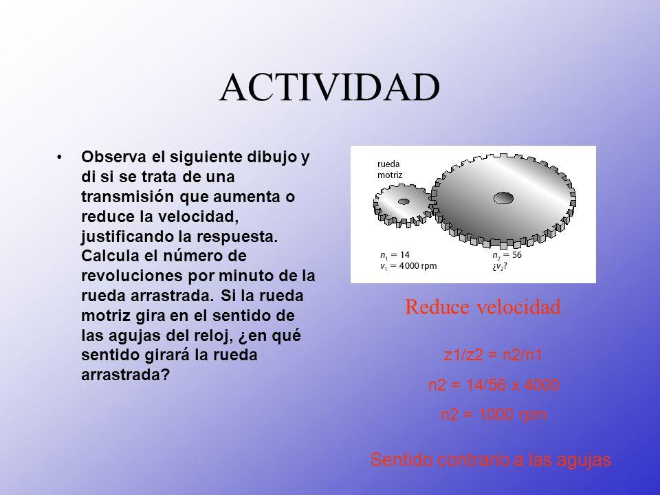 ACTIVIDAD Observa el siguiente dibujo y di si se trata de una transmisión que aumenta o reduce la velocidad, justificando la respuesta. Calcula el núm
