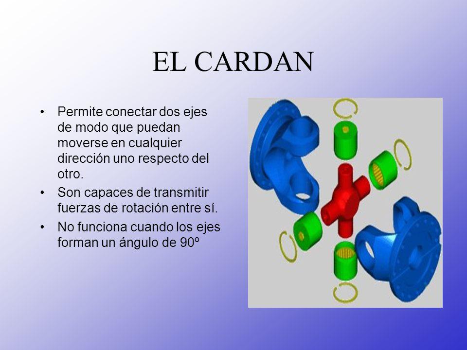 EL CARDAN Permite conectar dos ejes de modo que puedan moverse en cualquier dirección uno respecto del otro. Son capaces de transmitir fuerzas de rota