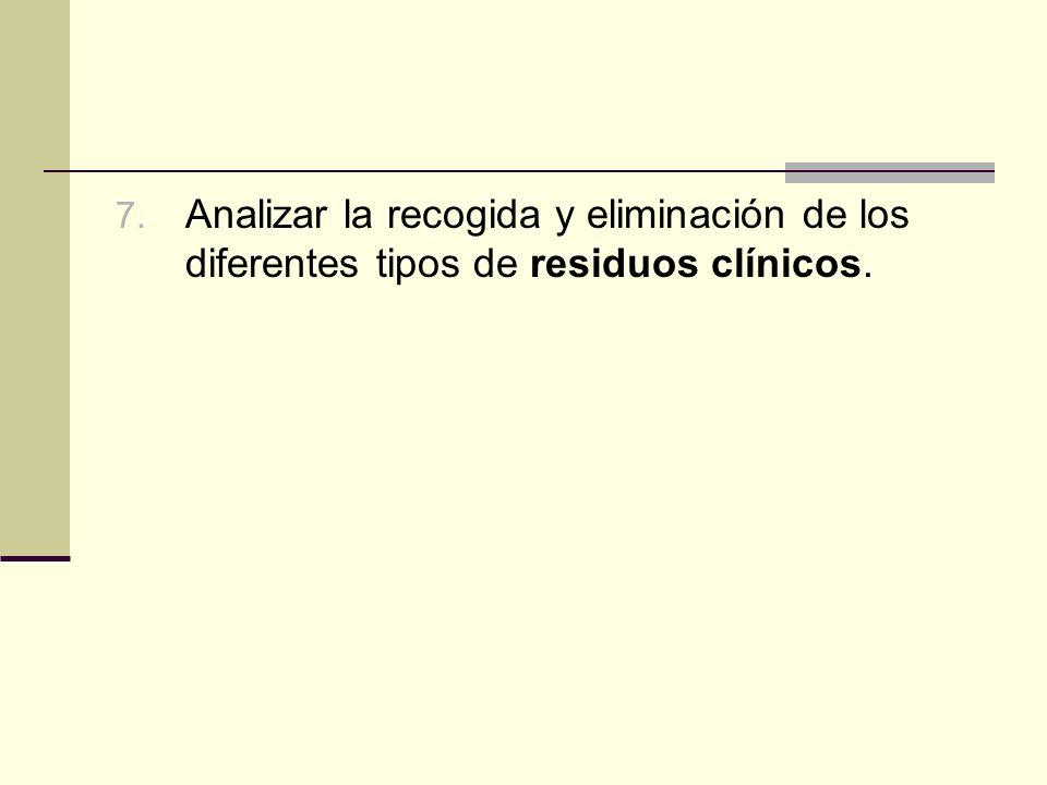 7. Analizar la recogida y eliminación de los diferentes tipos de residuos clínicos.