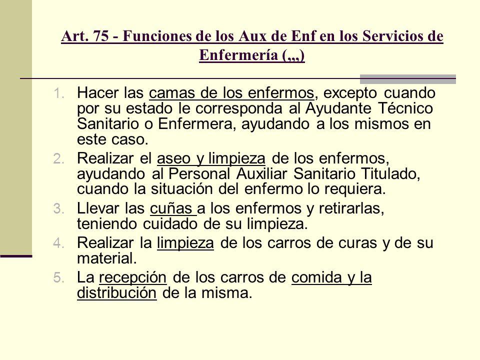Art. 75 - Funciones de los Aux de Enf en los Servicios de Enfermería (,,,) 1. Hacer las camas de los enfermos, excepto cuando por su estado le corresp