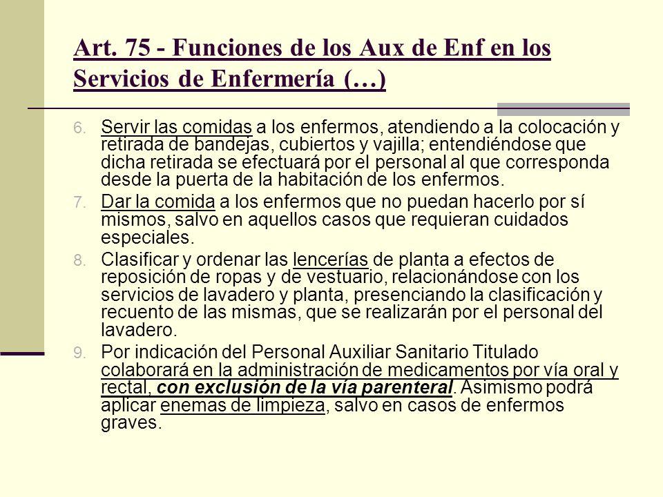 Art. 75 - Funciones de los Aux de Enf en los Servicios de Enfermería (…) 6. Servir las comidas a los enfermos, atendiendo a la colocación y retirada d