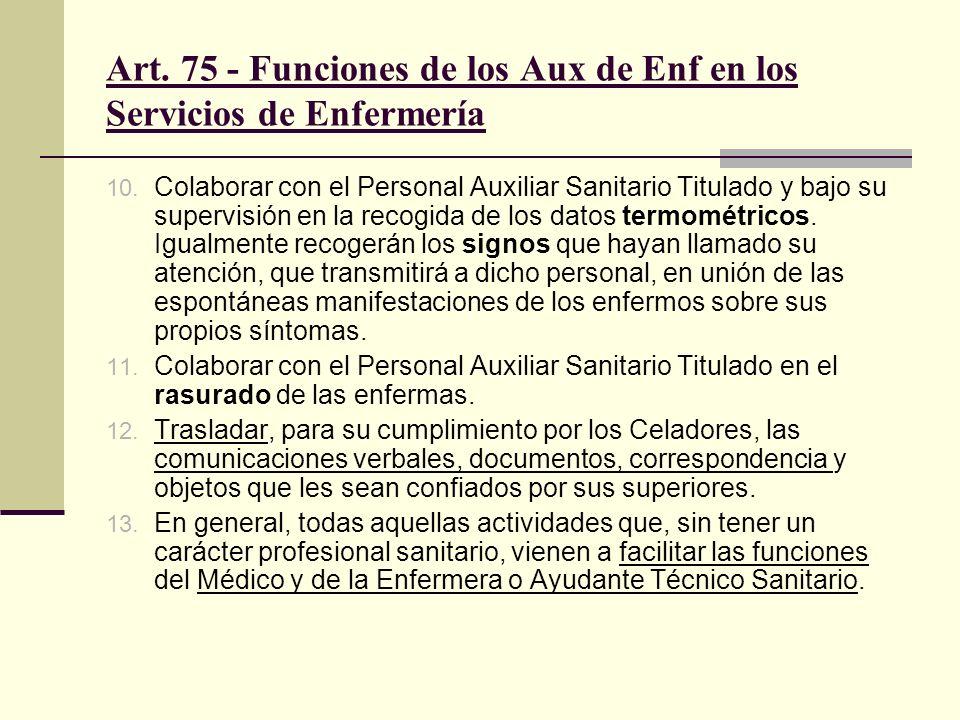 Art.75 - Funciones de los Aux de Enf en los Servicios de Enfermería 10.