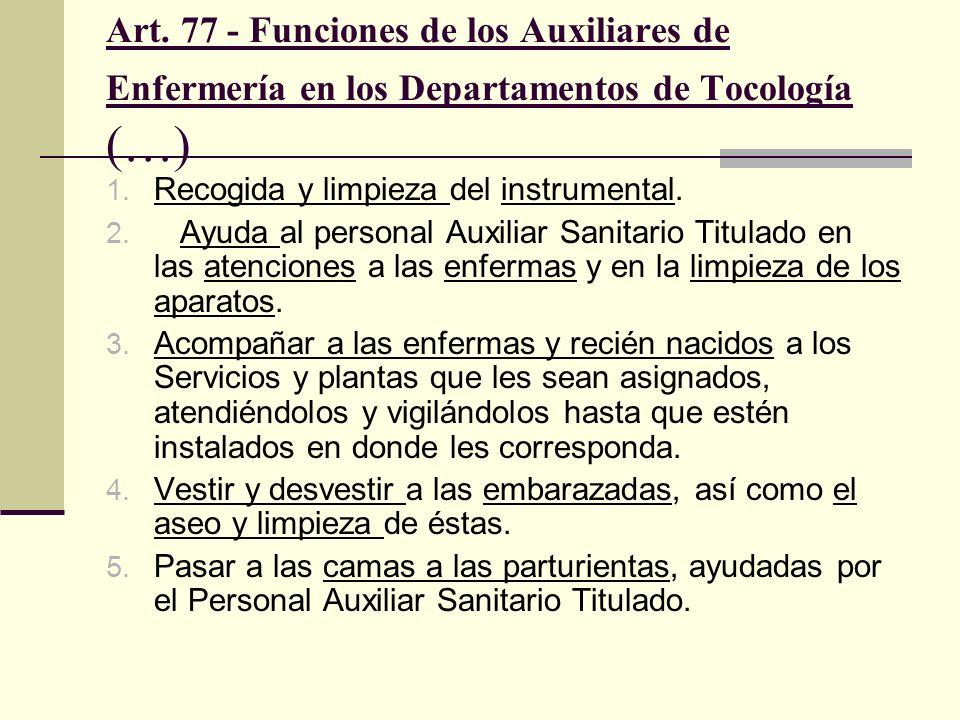 Art. 77 - Funciones de los Auxiliares de Enfermería en los Departamentos de Tocología (…) 1. Recogida y limpieza del instrumental. 2. Ayuda al persona