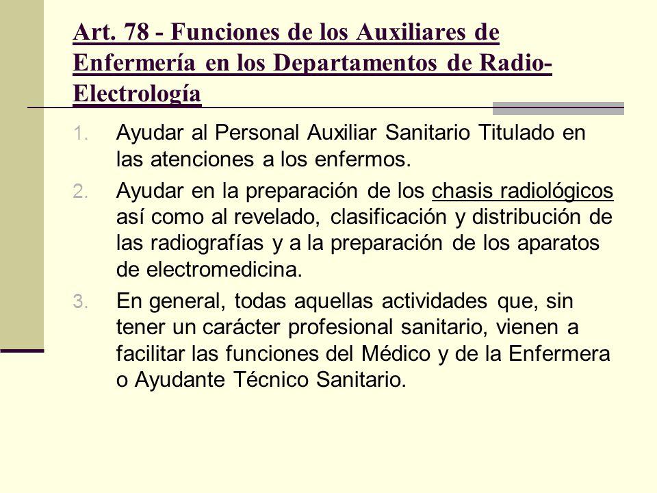 Art. 78 - Funciones de los Auxiliares de Enfermería en los Departamentos de Radio- Electrología 1. Ayudar al Personal Auxiliar Sanitario Titulado en l