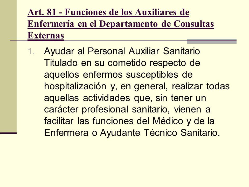 Art. 81 - Funciones de los Auxiliares de Enfermería en el Departamento de Consultas Externas 1. Ayudar al Personal Auxiliar Sanitario Titulado en su c