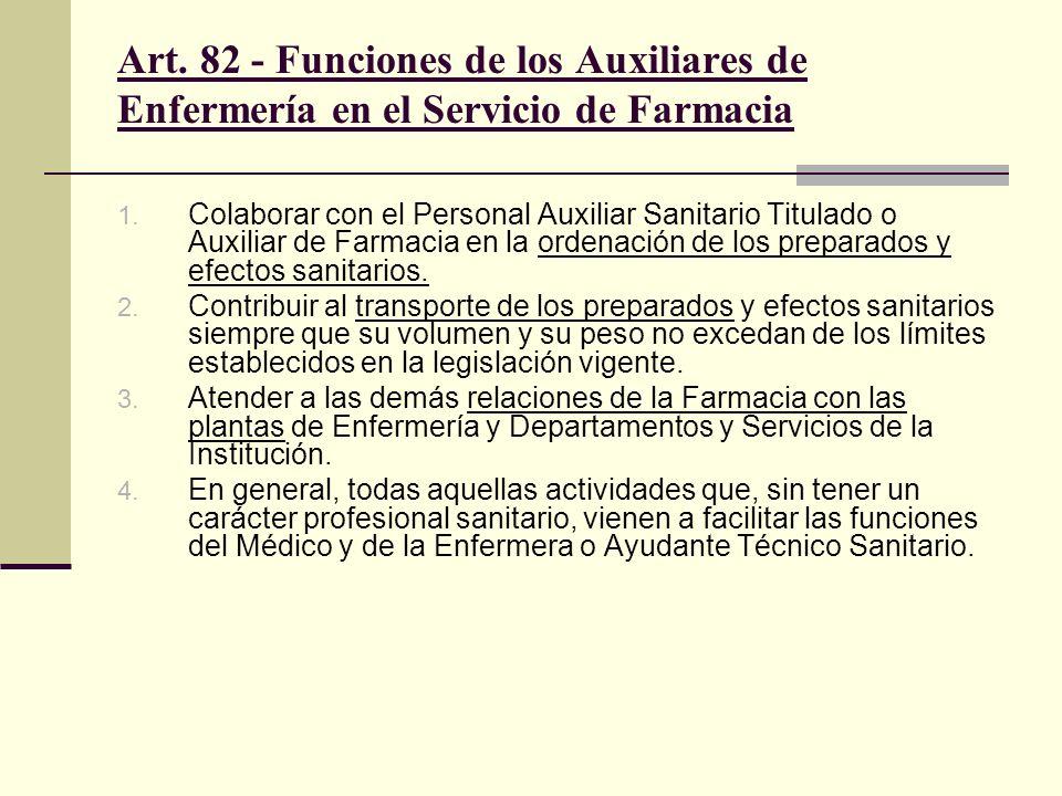 Art. 82 - Funciones de los Auxiliares de Enfermería en el Servicio de Farmacia 1. Colaborar con el Personal Auxiliar Sanitario Titulado o Auxiliar de